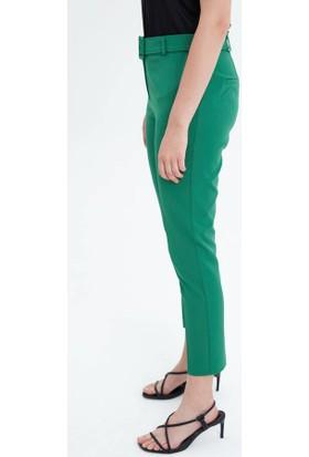 Fever Kadın Kemerli Cigarette Pantolon 12009 Yeşil