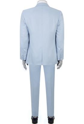 Ds Damat Slim Fit Slim Fit Mavi Jakar Desenli Smokin Takım Elbise