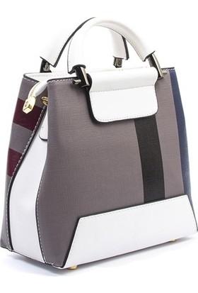 Silver & Polo Kadın El Çantası Gri Beyaz 970