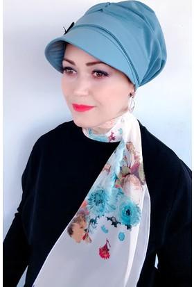 Elige Açık Mavi Şapkalı Fularlı Hazır Bone Tesettür Türban