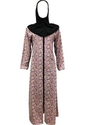 Hazal Namaz Elbisesi Türbanlı Fermuarlı Penye Gülkurusu Renk Çiçek Desen M - L
