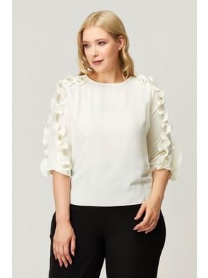 Kifayet Beyaz Büyük Beden Bluz Tunik