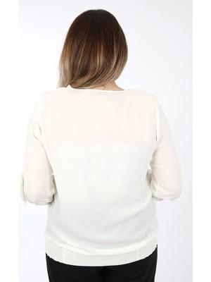 Kifayet Beyaz Büyük Beden Bluz - Tunik