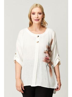 Kifayet Beyaz Desenli Büyük Beden Bluz Tunik