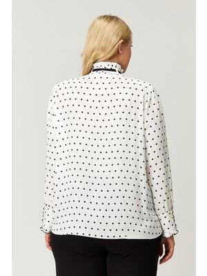 Kifayet Beyaz Noktalı Büyük Beden Bluz Tunik