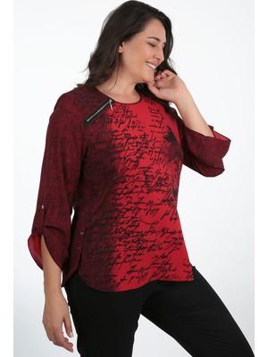 Kifayet Kırmızı Desenli Büyük Beden Bluz Tunik
