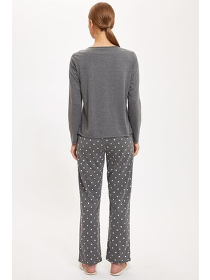 DeFacto Altı Desenli Üstü Minimal Baskılı Pijama Takımı S6573AZ20AU