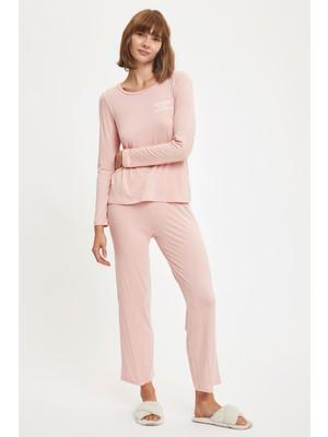 DeFacto Minimal Baskılı Uzun Kollu Pijama Takımı S2627AZ20AU