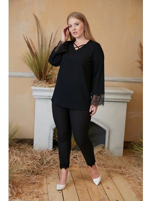 Rmg Yaka Detaylı Kol Dantelli Büyük Beden Siyah Bluz