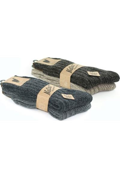 Alpaka Doğal Yün Kalın Örgü Soft Yün Çorap Mix 4 Çift