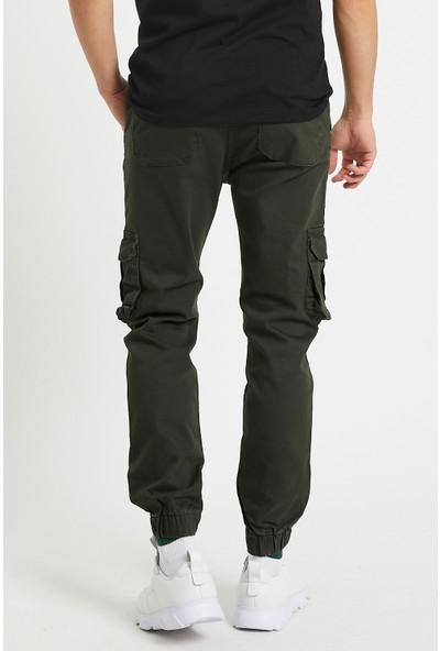 Serseri Jeans Haki Renk Erkek Yandan Cepli Jogger Paçası Lastikli Pantolon