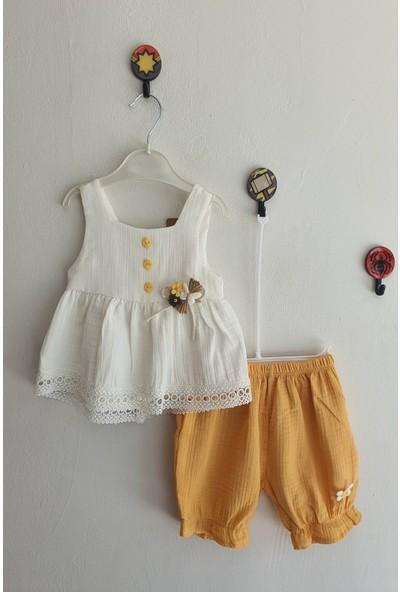 Dandini Kız Bebek Kelebek Işlemeli Incili Müslin Elbise