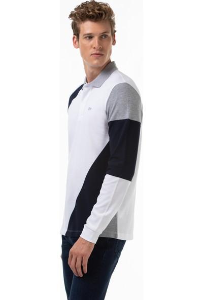 Lacoste Erkek Regular Fit Blok Desenli Uzun Kollu Beyaz Polo PH2106 06B