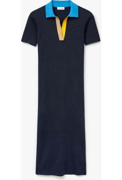 Lacoste Kadın Polo Yaka Kısa Kollu Lacivert Triko Elbise EF2398 9zc