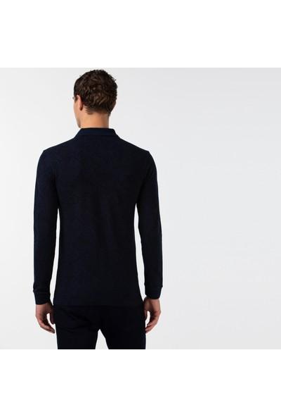 Lacoste Erkek Slim Fit Desenli Uzun Kollu Lacivert Polo PH2108 08L