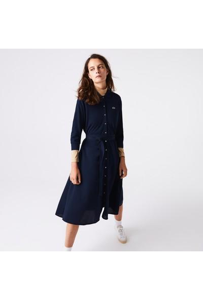 Lacoste Kadın Polo Yaka Uzun Kollu Lacivert Elbise EF2284 166