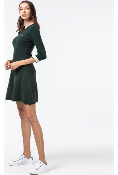 Lacoste Kadın Kaşmir Karışımlı Truvakar Kollu Yeşil Elbise EF1930 30Y