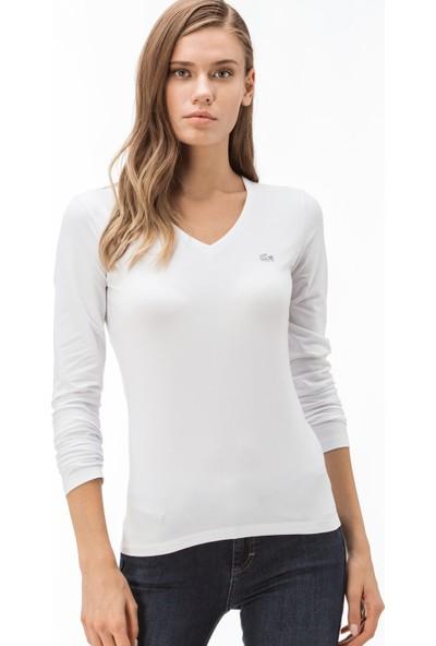 Lacoste Kadın V Yaka Uzun Kollu Beyaz T-Shirt TF0991.001