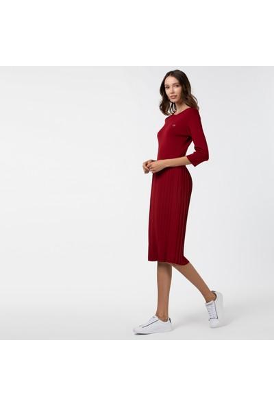 Lacoste Kadın Pileli Kayık Yaka Truvakar Kollu Bordo Elbise EF2048 48R