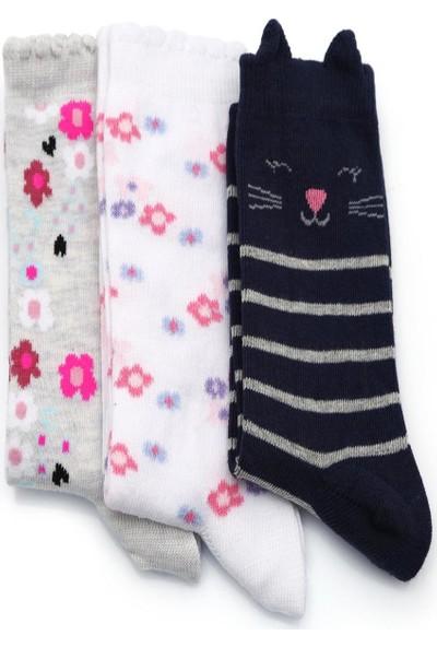 Ciorap 3'lü Kız Çocuk Kedi Çiçek Desenli Çorap 8200-B3