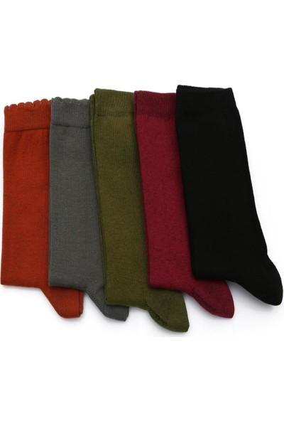 Ciorap 5'li Kadın Pikotlu Düz Çorap 395-B5