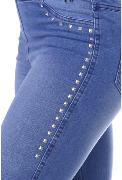 Enimon Cepli Taş Işlemeli Pantolon Tayt 547 Mavi
