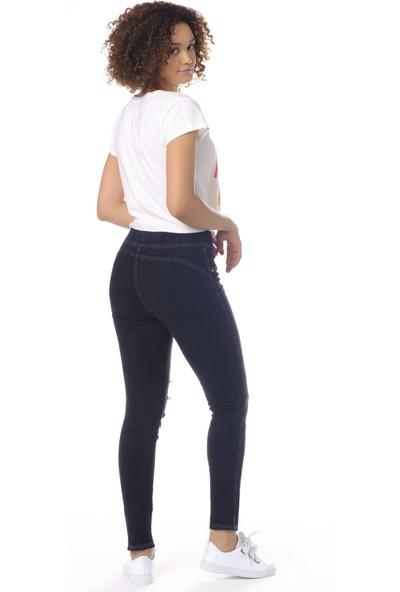 Enimon Denim Yırtık ve Taş Işlemeli Kot Pantolon Tayt 558 Siyah