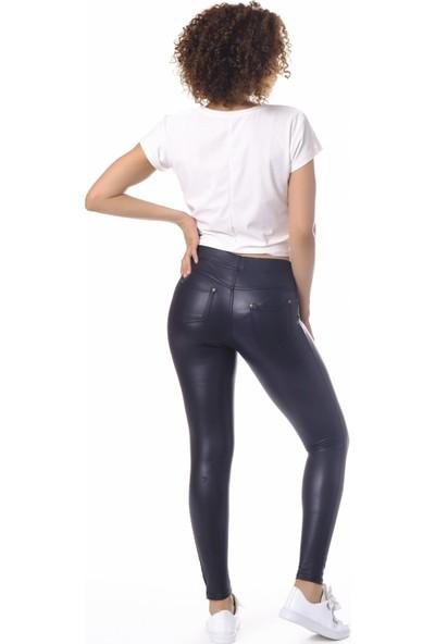 Enimon Deri Şardonlu Pantolon Tayt 106 Siyah