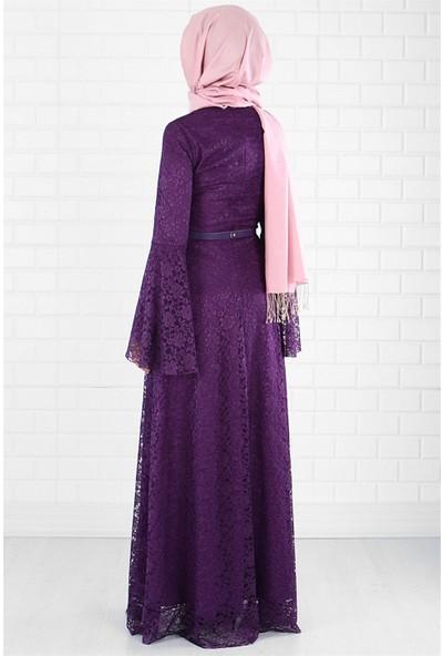 Fahima Ayben Dantel Elbise Mor FHM109