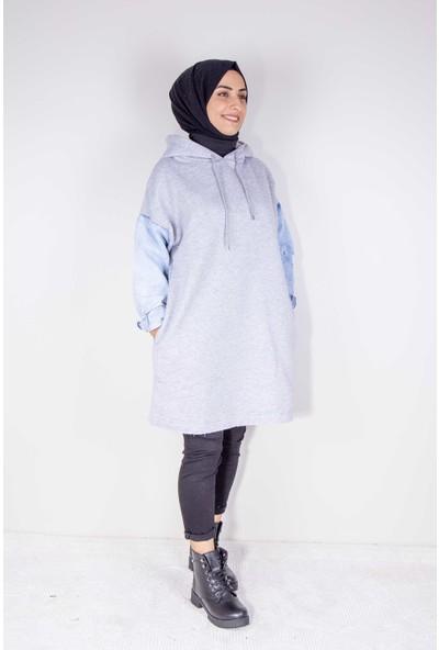 Onesize Fashion Tesettür Gri Kot Kollu Kapüşonlu Oversize Sweatshirt