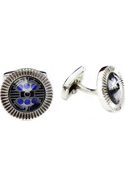 BijuStore Mavi Kristal Taşlı Çelik Kol Düğmesi