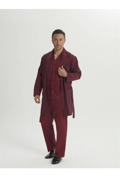 Espuar 2015 5'li Bordo Penye Röpdoşambr Uzun Kollu Klasik ve Pamuklu Damatlık Pijama Seti