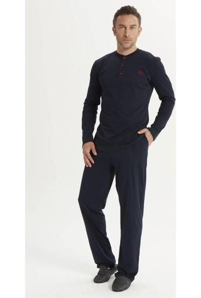 Espuar 2015 5'li Lacivert Penye Röpdoşambr Uzun Kollu Klasik ve Pamuklu Damatlık Pijama Seti