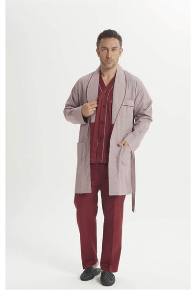 Espuar 2017 5'li Bordo Penye Röpdoşambr Uzun Kollu Klasik ve Pamuklu Damatlık Pijama Seti