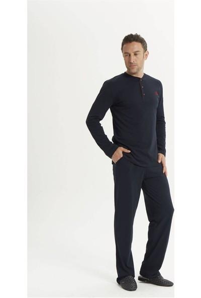 Espuar 2017 5'li Lacivert Penye Röpdoşambr Uzun Kollu Klasik ve Pamuklu Damatlık Pijama Seti
