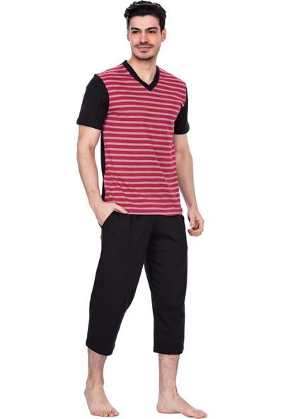 Güneş 4924 Kırmızı Çizgili V Yaka Kısa Kollu Kaprili Erkek Pijama Takımı