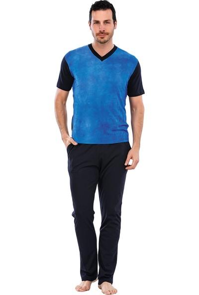 Güneş 5027 Mavi V Yaka Kısa Kollu Erkek Pijama Takımı