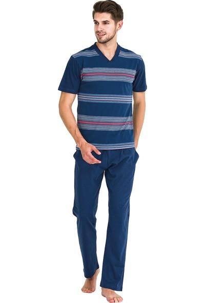 Güneş 5322 Indigo Çizgili V Yaka Kısa Kollu Erkek Pijama Takımı