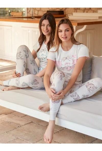 Feyza 3249 Mavi Ayıcıklı Kadın Kısa Kollu Pijama Takımı