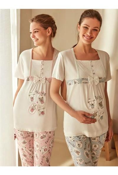Feyza 3271PEMBE Ayıcık Desenli Önü Düğmeli Lohusa Kısa Kollu Pijama Takımı