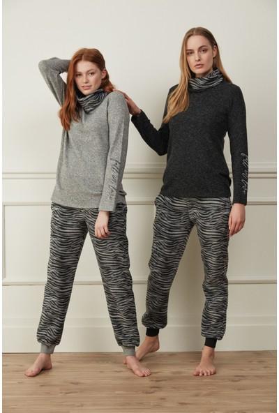 Feyza 3506 Siyah Zebra Desenli Uzun Kollu Kışlık Kadın Pijama Takımı