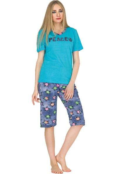 Güneş 6594 Mavi Kısa Kollu Kaprili Kadın Pijama Takımı