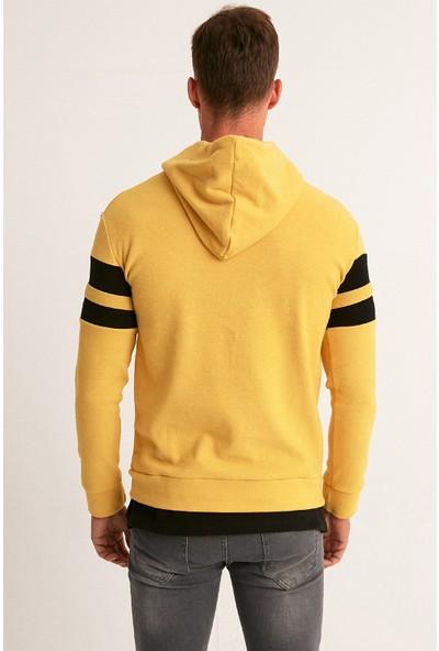 FullaModa Şeritli Kapüşonlu Sweatshirt