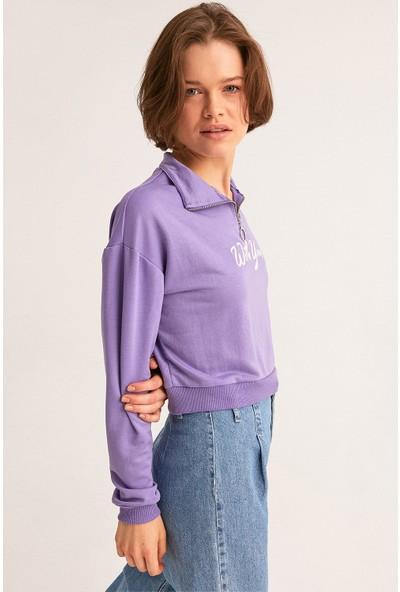 FullaModa Yarım Fermuarlı Nakışlı Sweatshirt
