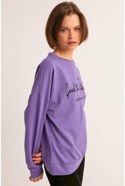 FullaModa Yazı Baskılı Sweatshirt