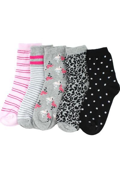 Trick Or Treat 5'li Paket Renkli Desenli Yarım Konç Kadın Çorap