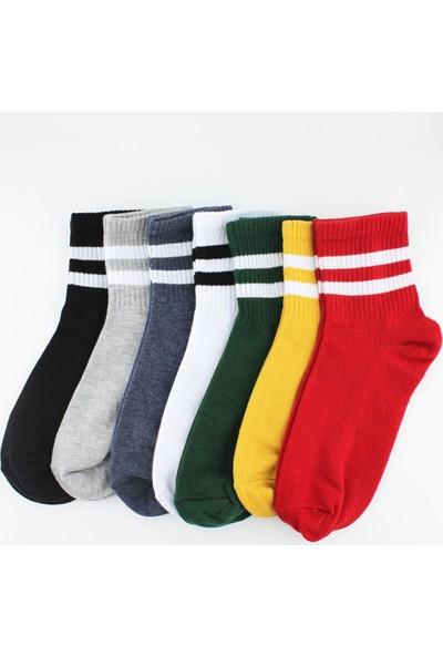 Trick Or Treat 7'li Paket Farklı Renklerde Çizgili Yarım Konç Kadın Çorap
