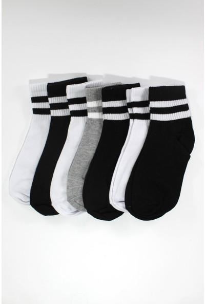 Trick Or Treat 7'li Paket Pamuklu Renkli Çizgili Yarım Konç Erkek Çorap
