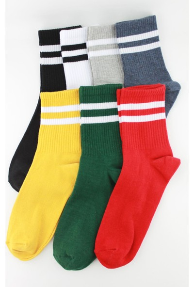 Trick Or Treat 7'li Renkli Çizgili Erkek Çorap