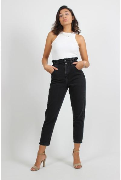 Alpinteks Kadın Siyah Beli Lastikli Yüksek Bel Mom Jeans
